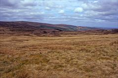 axe edge moor (Ron Layters) Tags: leica england grass landscape unitedkingdom heather derbyshire peakdistrict hill slide velvia transparency vista moor fujichrome staffordshire couds moorland highpeak axeedgemoor r62 leicar62 ronlayters slidefilmthenscanned goytsclough mosschain