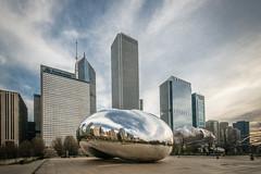 The Bean Skyline (HubbleColor {Zolt}) Tags: travel urban chicago illinois bean millenniumpark cloudgate