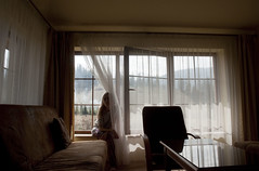 she's always away. she's away girl (joanna.kf) Tags: portrait selfportrait mountains window girl nikon women view windowview windowsill nikond90