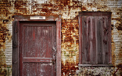 building 2 (jtr27) Tags: metal entropy rust sony maine newengland sigma oxidation dna wabisabi 60mm siding alpha f28 corrosion building2 ilc patina csc dn nex ilce mirrorless dnart emount nex6 jtr27 sigmaart dsc08566e