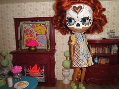 Carlotta modeling a cute dress I got second hand.  Really suits her! (``` November Rain ```) Tags: dayofthedead fireplace livingroom diorama calavera customblythe