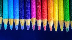 Coloured Pencils (lkaldeway) Tags: pink blue red stilllife orange color colour green water colors yellow pencil pencils colours purple bubbles crayons effervescence