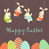 Easter bunnies and easter eggs (limonarif889) Tags: party brown holiday cute rabbit bunny art grass animal illustration festive easter season fun mammal happy design spring holding funny hare graphic sweet drawing decorative traditional religion egg joy cartoon decoration celebration invitation card gift april concept decor celebrate greeting congratulation vector element easterbunny invited easteregg easterrabbit