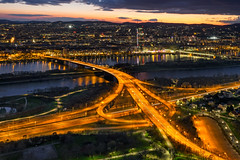 Vienna (beautifulamnesia) Tags: vienna wien city longexposure travel sunset night river austria europe cityscape dusk bridges viena danuberiver danubetower