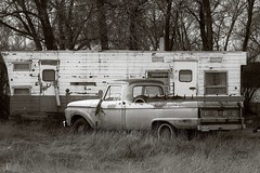 SART032516 (RhinoSkin) Tags: old travel bw ford truck alberta orion trailer