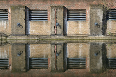 Regent's Canal at Broadway Market (Satzomatic) Tags: reflection brick london texture water vent canal pattern pipe bank symmetry regentscanal symmetrical balance hackney hook balanced londonfields broadwaymarket