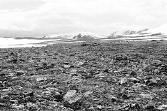 Uneven Terrain (IggyRox) Tags: blackandwhite terrain mountains film nature beauty norway rock 35mm norge europe view north dovre rocky hike boulders scandinavia distant vast dovrefjell oppland snoheim