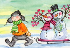 Virpi Pekkala, Friends (caijsa's postcards) Tags: winter hearts snowmen postcards valentinesday virpipekkala