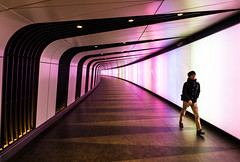 Kings Cross Tunnel Light Wall (Botond Buzas Photography) Tags: street new light london public station wall architecture modern train underground design europe long cross rail pedestrian tunnel led international kings passenger kingscross passage pancras development futuristic integrated