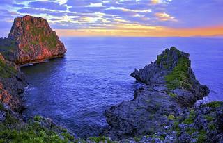 沖繩 真栄田岬 早晨 之 日出色彩