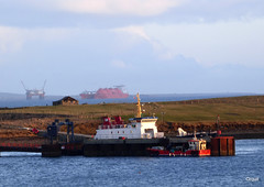 Looking East Past Orkney's Houton Pier (orquil) Tags: uk greatbritain winter panorama seascape sunshine ferry islands bay scotland pier seaside interesting orkney ships platform january sunny calm busy maritime rig unusual transfer accommodation shipping roro lng crowded tankers memorable fishfarm semisubmersible houton exceptional workboat scapaflow atanchor westmainland excelerate arcticprincess prosafe shiptoship thorsvoe safeboreas