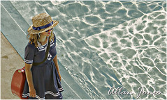 Old style Vigilance (Allan Jones Photographer) Tags: summer woman water pool girl sunglasses female swimming photoshop watching lifeguard swimmingpool devon hdr lifesaver strawhat lido vigilant lifesaving outdoorpool vigilance porkpiehat shotfromabove womaninhat girlinhat plymouthlido oldfashioneddress allanjones canonef100400mmf4556isusm oldtimedress canon5d3 allanjonesphotographer plymouthlidopool