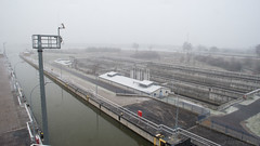 I wouldn't trade your life for one hour of home (OR_U) Tags: longexposure winter water river germany deutschland canal lock widescreen pole magdeburg snowing oru 169 elbe 2016 sachsenanhalt 5sec rothensee rothenseeshiplock
