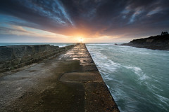 The light at the end (T_J_P) Tags: ocean light sunset sea coast pier cornwall breakwater porthleven