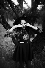 Deep Dark Forest (Megan Dendinger) Tags: trees bw white black fashion kids forest children child deep megan gritty editorial blacks noise dendinger meganalisaphotography