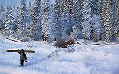 Logging in Winter - Alaska (JLS Photography - Alaska) Tags: winter snow men art alaska forest painting landscape landscapes artwork outdoor paintings logging wilderness firewood snowbank winterlandscape lastfrontier alaskalandscape jlsphotographyalaska