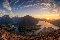 Andalsnes Memories (Waubble) Tags: travel blue autumn sunset sky sunlight mountains nature norway clouds adventure fjord scandinavia exploration rauma romsdal ndalsnes 500px ifttt romsdaleggen
