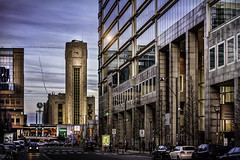 Brussel Noord Station (Luc Mercelis) Tags: street city blue red brussels black building streetlight minolta streetlights streetphotography bruxelles bluehour brussel citytrip minoltaprimelens brusselnoordstation sonyslt77v minoltaprimelens50mm minoltaprimelens20mm