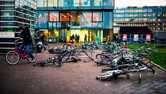 (angheloflores) Tags: street city people storm holland color rain amsterdam bike wind
