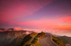 (RicardoPestana2012) Tags: road pink sunset sky mountains clouds landscape colours madeira madeiraisland