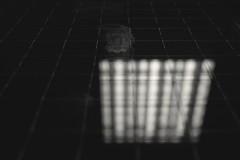 Illuminator - 23 (Inside Outside) (L D Middleton) Tags: lighting door light blackandwhite bw reflection glass monochrome dark print lights wire fuji bright finger smudge ceiling reflected fujifilm fingerprint smudged firedoor illuminator x100t ldmiddleton