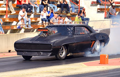 Pro Mod style Camaro heating the tires (Thumpr455) Tags: auto show black chevrolet 1969 car race march nikon automobile action southcarolina voiture camaro autoracing dragracing outlaw promod supercharged blown d800 2016 worldcars wareshoalsdragway afnikkor70200mmf28vrii ragingrods