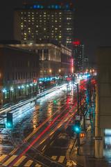 Reflections on San Carlos Street in Downtown San Jose. (Frostysean) Tags: california city longexposure storm colors rain weather night lights nikon downtown traffic sanjose busy lighttrails nikkor 1855mmf3556g
