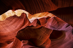 Lower Antelope Canyon - 30 (JohnColeUSA) Tags: red orange texture geometric nature colorful desert angle angles az curve rockwall americanwest slotcanyon antelopecanyon southwestusa striations navaho pageaz lowerantelopecanyon linesabstract