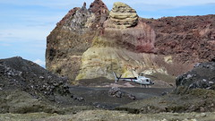 White Island: Volcanicair helicopter parked on the crater floor (JayVeeAre (JvR)) Tags: helicopter volcanicisland picasa3 johnvanrooygmailcom johnvanrooy gimp28 canonpowershotsx60hs johannesvanrooy httpwwwflickrcomphotosjayveeare httpwwwpanoramiocomuser1363680 httppicasawebgooglecomjohnvanrooy ©2016johannesvanrooy