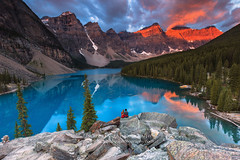 Magical Sunrise (seryani) Tags: lake canada nature beauty landscape rockies outdoors landscapes nationalpark scenery alberta banff rockymountains moraine banffnationalpark morainelake