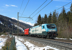 EU43 004, Fleres, 11  March 2016 (Mr Joseph Bloggs) Tags: railroad snow train march merci brenner rail railway cargo company bahn brescia treno marzo freight 004 brennero rtc trenitalia fleres e412 tractio eu43 eu43004