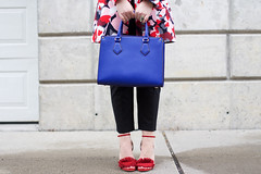 Spring Pastel Outfit | The Limited Printed Floral Coat | The Limited Lexie Pants | Banana Republic Red Fringe Sandals on Living After Midnite (jackiegiardina) Tags: pink blue red floral sunglasses fashion spring outfit highheels bright sandals pastel style blonde lipstick handbag printed bananarepublic livingaftermidnight karenwalker thelimited livingaftermidnite jackiegiardina