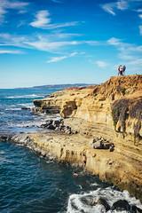 Climbing out of the waters (bradleysiefert) Tags: ocean california trip travel cliff rock coast us unitedstates sandiego sunsetcliffs 2015 summerjourneys