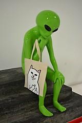 The Alien Thinker (CB_M) Tags: sculpture men green art up shop do little space alien thinker kitty pop skateboard they outer fairfax exist ripndip