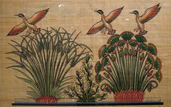 Egypt (Aswan) Papirus art-Holy flowers and geese (ustung) Tags: flower art animal nikon lotus handmade egypt goose holy aswan souvenier papirus
