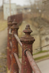 All in a Row (rumimume) Tags: old red ontario canada canon fence photo still rust sigma niagara chipped picoftheday 2016 550d peelingmetal t2i rumimume