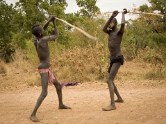 Stick Fighters, Mursi Tribe (Rod Waddington) Tags: africa outdoor african traditional culture tribal afrika omovalley stick ethiopia fighting tribe ethnic mursi cultural ethnicity afrique ethiopian omo donga etiopia ethiopie etiopian omoriver