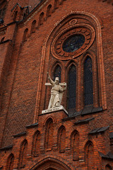 """""""Hearts up"""" (jacekbia) Tags: red church canon outdoor religion poland polska m42 redbrick figura koci mazowsze religia czerwony cega elewacja 1100d ostrwmazowiecka"""