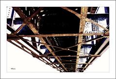 Bottom (MEaves) Tags: bridge lines rust iron rivets steel bottom underside span beams girders