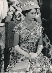 Lovely Queen Elizabeth (romanbenedikhanson) Tags: hat gloves 1957 summerdress queenelizabeth 1950sfashion originalphoto 50sfashion