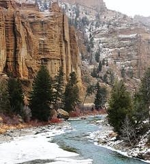 The Palisades (wyojones) Tags: winter cliff river wyoming np cody tress palisades oligocene igneousrocks shoshonenationalforest volcanics absarokamountains wyojones northforkoftheshoshoneriver northforkcanyon absorkavolcanics