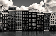 Amsterdam (Manadh) Tags: houses blackandwhite holland reflection water netherlands clouds boat canal pentax april k3 2016 manadh
