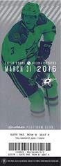 March 31, 2016, Dallas Stars vs Arizona Coyotes, American Airlines Center, Dallas, Texas - Ticket Stub (Joe Merchant) Tags: arizona stars march dallas texas ticket center american vs airlines 31 stub coyotes 2016