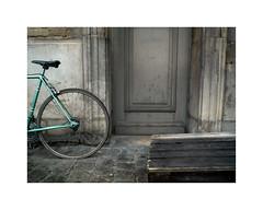 plat (hlne chantemerle) Tags: sol monochrome gris porte bicyclette mur extrieur ville faade vlo banal planches pavs photograhie
