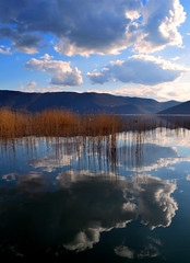 Beautiful lakescape with reflections and reeds by ioanna papanikolaou DSC_1366_1988 (joanna papanikolaou) Tags: travel light sunset reflection nature clouds reflections reeds landscape outdoors scenery natural cloudy scenic nobody scene greece destination environment cloudscape lakescape prespes lakescenery