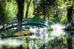Foggy Bridge in Jersey (SeanSaldan) Tags: bridge sun sunlight lake art water fog fun outside newjersey spring nikon stream outdoor smoke hamilton nj jersey tamron sculptures groundsforsculpture gfs hamiltonnj 18270 d5300 seansaldan