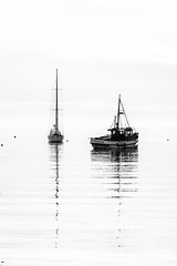 Idyll Morning (grantg59@xtra.co.nz) Tags: morning sea blackandwhite seascape monochrome boat fishing harbour yacht oban halfmoonbay stewartisland