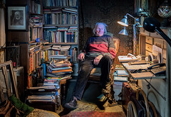 Aulis amidst his books (Poupetta) Tags: helsinki books stranger collector aulis