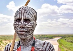 Karo Warrior, Ethiopia (Rod Waddington) Tags: africa portrait people man male face outdoor african painted traditional culture tribal warrior afrika omovalley ethiopia tribe ethnic karo ethnicity afrique ethiopian omo etiopia ethiopie etiopian omoriver