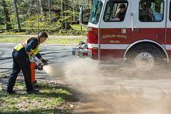 testing hydrants 01 - Cleveland Heights (Tim Evanson) Tags: hydrant firetruck firehydrant laddertruck clevelandheights clevelandheightsohio firehydranttesting clevelandheightsfiredeparment